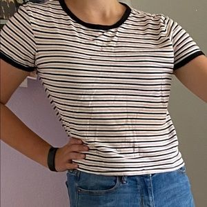 Striped pink, white, and black t-shirt